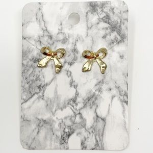 New Gold Tone Bow Stud Earrings Boutique